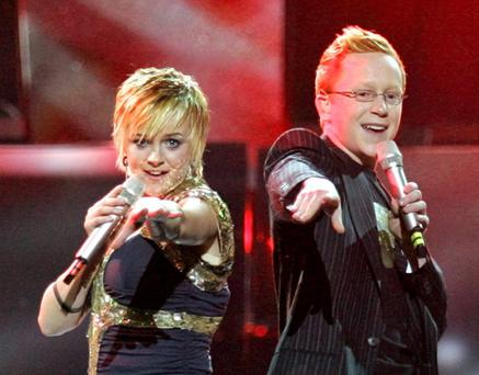 Ireland's entry Donna and Joseph McCaul perform during a dress rehearsal for semifinal of Eurovision contest 2005 in Kiev.