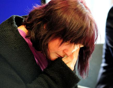 April Jones's mother Coral breaks down during a press conference in the Welsh Government Building in Aberystwyth Ceredigion, where she appealed for a safe return of her daughter. Photo: PA