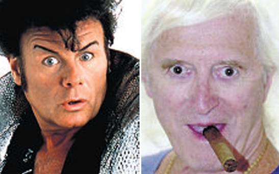 The BBC faced fresh claims over the late Jimmy Savile (right) after it was alleged that Gary Glitter (left) raped a girl of 13 in his dressing room at the corporation's television centre.