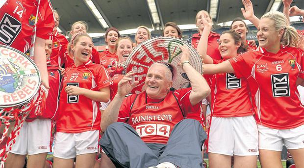 Eamonn Ryan celebrates with his Cork players after their victory over Monaghan in last year's All-Ireland final