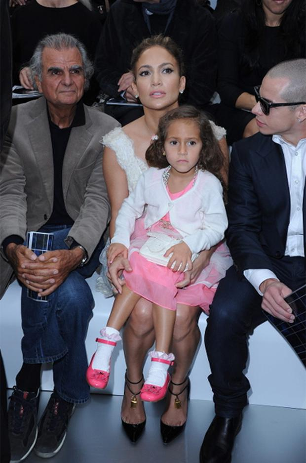 Jennifer Lopez and her daughter Emme Maribel Muniz arrive at the Chanel Spring / Summer 2013 show.
