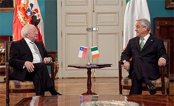 President of Ireland Michael D Higgins with Mr Sebastian Pinera , President of Chile