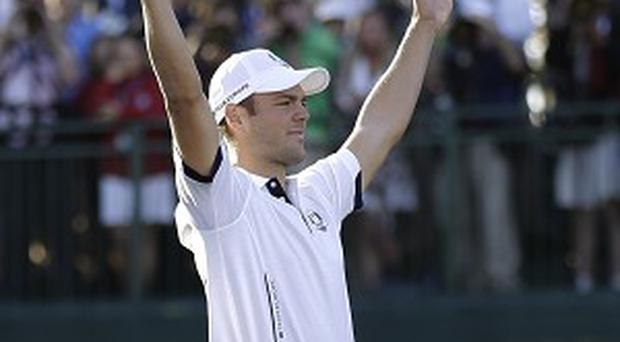 Martin Kaymer celebrates after he ensured Europe would retain the Ryder Cup (AP)