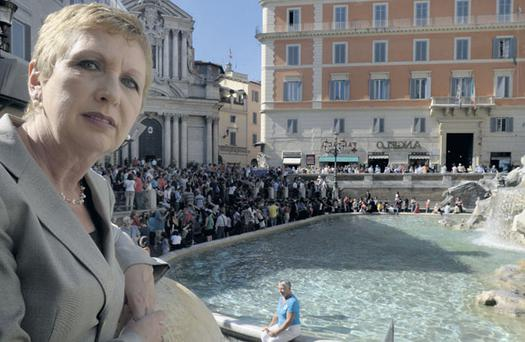 Former President Mary McAleese at the Trevi Fountain in Rome.