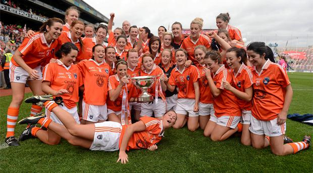 Armagh players celebrate their side's victory