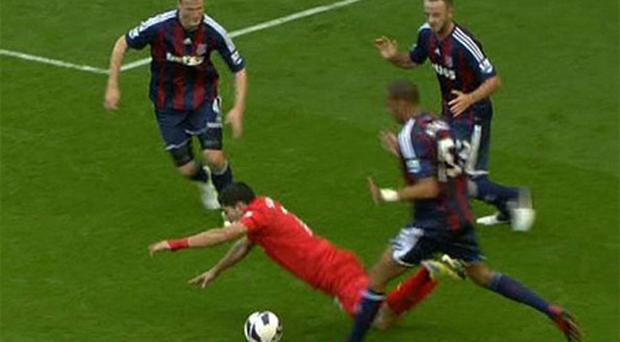 Luis Suarez has been accused of 'diving' again
