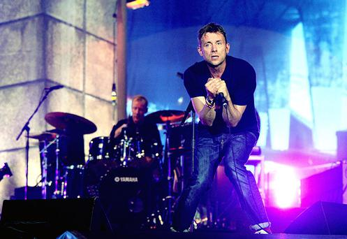 File photo dated 12/08/12 of Blur perform on the main stage at BT London Live. Blur have signed up for a string of European dates next year, only weeks after frontman Damon Albarn said their Hyde Park gig would probably be their last. PRESS ASSOCIATION Photo. Issue date: Monday October 8, 2012. The band, who headlined the 2012 Games closing concert on August 12, have announced gigs in Belgium, Spain and Portugal. See PA story SHOWBIZ Blur. Photo credit should read: Ian West/PA Wire