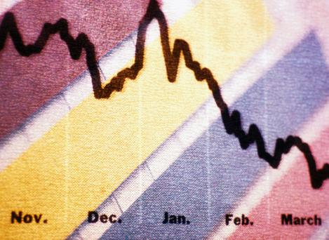 Close-Up of a Line Graph Moving Down