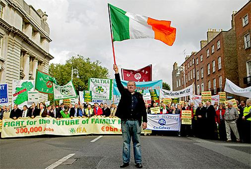Thousands of farmers protest outside Leinster House in Dublin