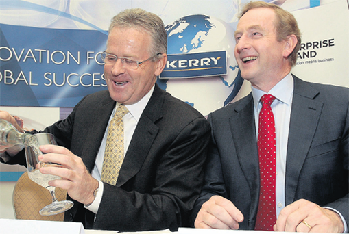 Taoiseach Enda Kenny with Stan McCarthy, CEO of the Kerry Group, at the announcement in Dublin of the new jobs.
