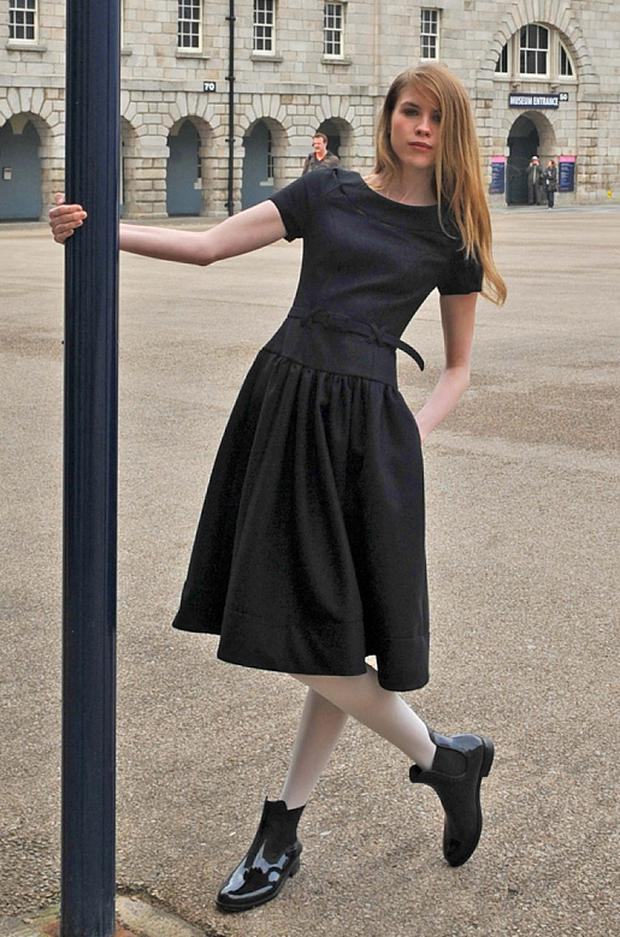 Eve Connolly in a Peter O'Brien black wool dress