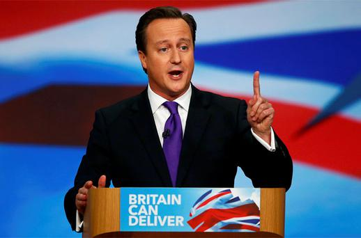 British Prime Minister David Cameron speaks at the Conservative Party conference in Birmingham. Photo: Reuters