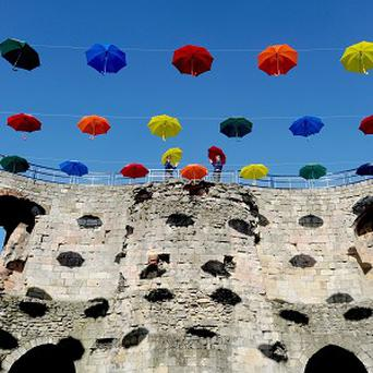 A new art installation called Umbrella Sky will help protect visitors to Clifford's Tower in York from the rain
