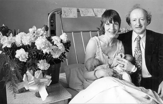 Sabina and Micheal D Higgins with their newborn twins John and Michael Jnr