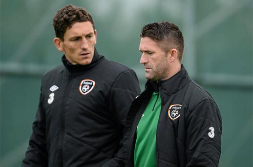 Robbie Keane and Keith Andrews, left, during squad training