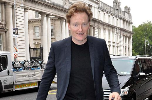 American chat show host Conan O'Brien arriving at Merrion Hotel