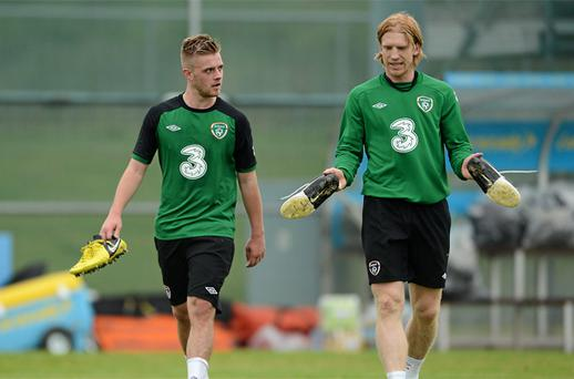 Conor Clifford, left, and Paul McShane during squad training