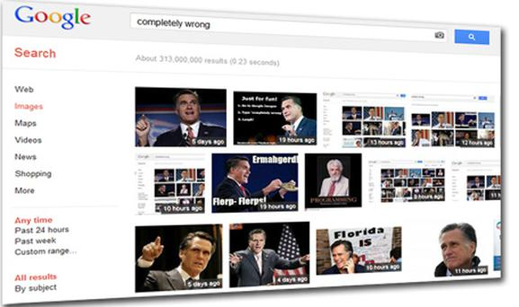 Pictures of Mitt romney appear when the phrase 'completely wrong' is typed into Google Images