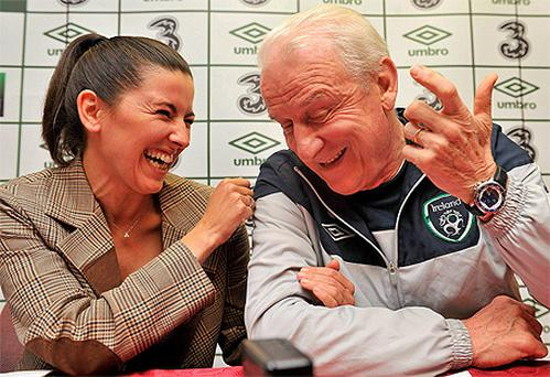 Right hand woman: Manuela Spinelli at a press conference as Giovanni Trapattoni's translator