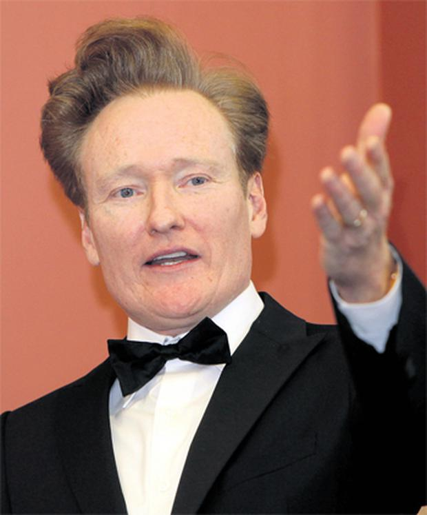 Conan O'Brien addressing students at Trinity College's Philosophical Society, where he received an honorary award