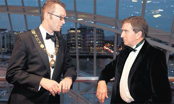 At the Dublin Chamber of Commerce annual dinner last night were chamber president and Greencore chief executive Patrick Coveney, and keynote speaker Niall Fitzgerald KBE.