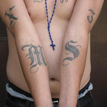 An example of a tattoo of the gang Mara Salvatrucha, or MS-13 (AP/Michael Johnson, ICE)