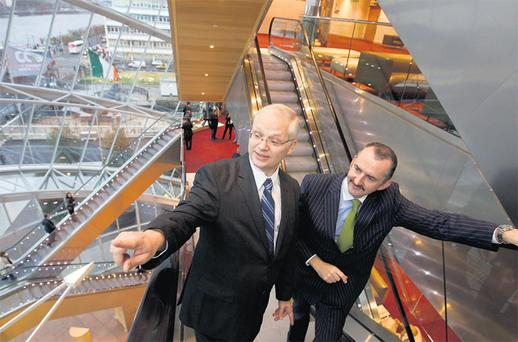 Istvan Szekely (left), mission chief for Ireland from the European Commission, and IBEC director of industrial relations Brendan McGinty at the business lobby group's HR leadership summit yesterday in the Convention Centre, Dublin