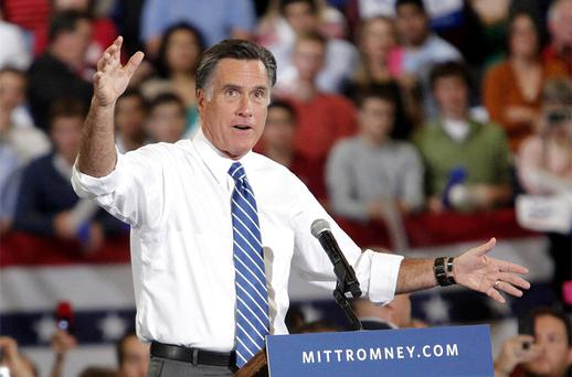 Republican presidential candidate Mitt Romney speaks during a campaign rally at the US Cellular Center on October 11, 2012, in Asheville, NC. Photo: AP