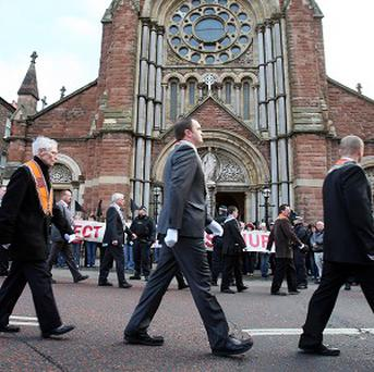 An incident outside St Patrick's Church in Belfast is being investigated