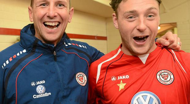 Sligo Rovers manager Ian Baraclough celebrates with Mark Quigley in their team dressing rooom after winning the Airtricity League Premier Division title. Photo: Sportsfile