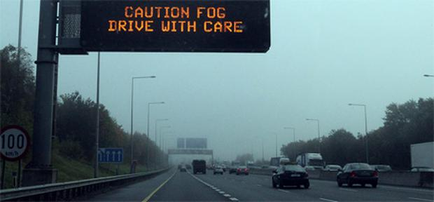 Foggy conditions on the M50 between Blanchardstown and Finglas
