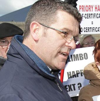 Darren Kelly at a previous protest about Priory Hall