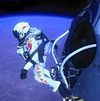 Felix Baumgartner jumps from more than 24 miles up on his way to shattering the sound barrier (AP Photo/Red Bull Stratos)