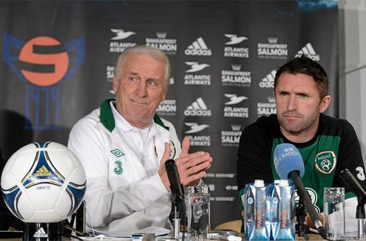 Ireland captain Robbie Keane with manager Trapattoni at a press conference ahead of tonight's game