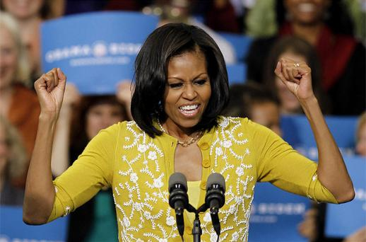 First lady Michelle Obama speaks as she campaigns for her husband, President Barack Obama, at a rally at Cuyahoga Community College on Monday