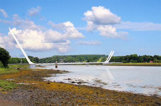An artist's impression of the proposed bridge, which will cost €18m to build, looking from the Co Louth side across to North