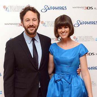 Chris O'Dowd and wife Dawn Porter arriving for the premiere of The Sapphires in London on Monday