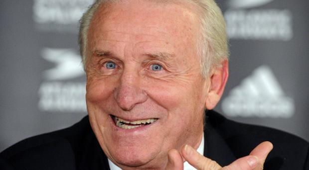 16 October 2012; Republic of Ireland manager Giovanni Trapattoni speaking to the media following his side's victory in their 2014 FIFA World Cup Qualifier match against the Faroe Islands. Torsvollur Stadium, Torshavn, Faroe Islands. Picture credit: David Maher / SPORTSFILE