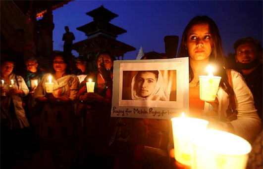 A candlelight vigil organized by Nepalese Youth in Kathmandu is held in support of Malala Yousafzai.