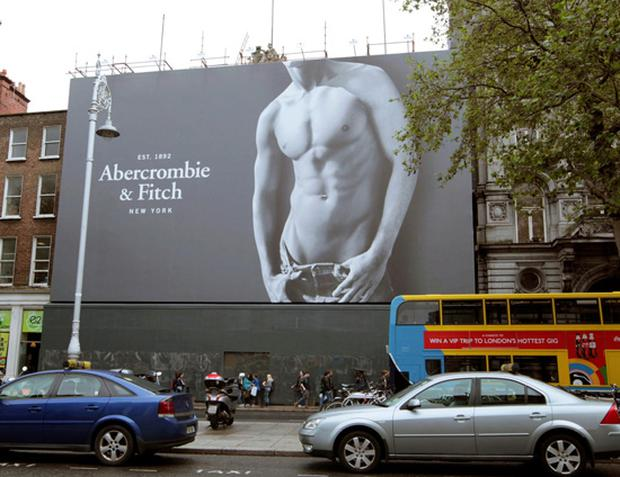 The 'naked torso boy' giant poster outside the store in Dublin's College Green.