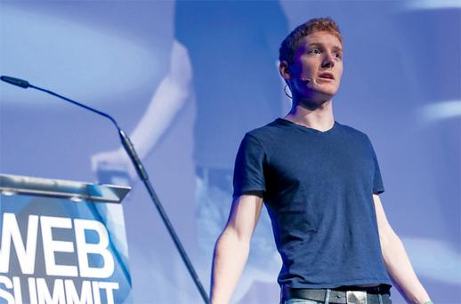 Patrick Collison, whose online payment company Stripe is based in Silicon Valley, speaking at the Dublin Web Summit in the RDS