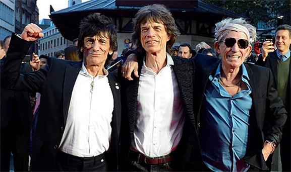 The Rolling Stones Ronnie Wood, Mick Jagger and Keith Richards