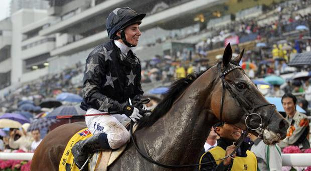Ryan Moore riding Presvis celebrates as he returns to scale after winning the Audemars Piguet Queen Elizabeth II Cup. Photo: Getty Images