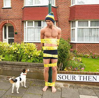 Harry Judd was tied to a lamppost to promote a new competition