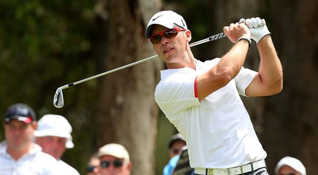 Paul Casey of England tees off on the 2nd hole during round two of the Perth International. Photo: Getty Images