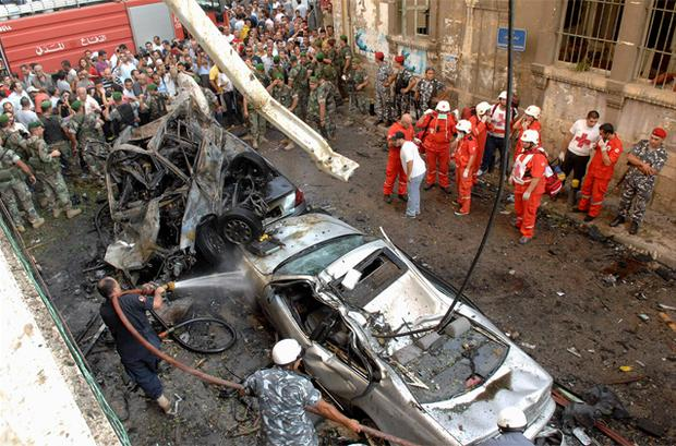 Lebanese Red Cross and civil defence personnel work at site of explosion in the Ashafriyeh district, central Beirut. Photo: Reuters