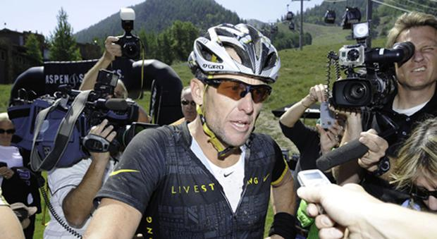 ASPEN, CO - AUGUST 25: Lance Armstrong finishes the Power of Four Mountain Bike Race on Aspen Mountain on August 25, 2012 in Aspen, Colorado. (Photo by Riccardo S. Savi/Getty Images)