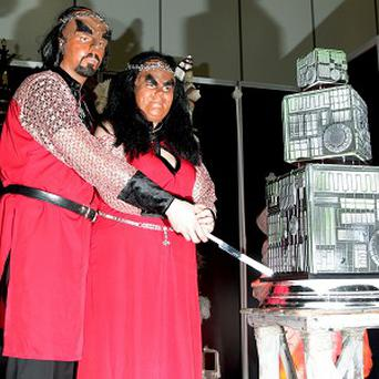 Jossie Sockertopp, right, and Sonnie Gustavsson married during a Klingon ceremony - the first of its kind in the UK