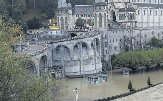 The flooding in Lourdes, southwestern France.