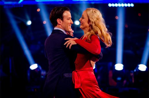 Jerry Hall and Anton Du Beke, as Jerry Hall becomes the second celebrity to be voted off show Strictly Come Dancing. Photo: PA